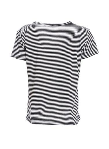 DeFacto Çizgi Detaylı Kısa Kollu T-Shirt Siyah